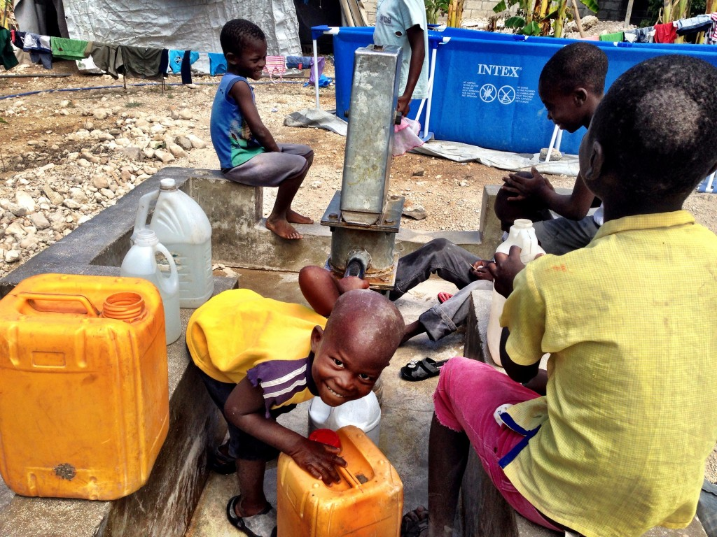 children with clean water