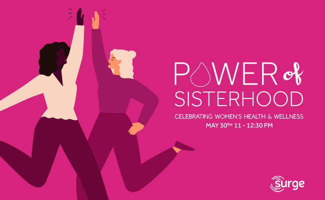 Invitation with two cartoon women jumping and giving each other a high five